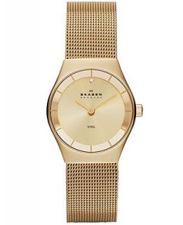 Skagen Denmark Watch, Womens Gold Ion Plated Stainless Steel Mesh Bracelet 24mm SKW2045   Watches   Jewelry & Watches