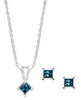 10k White Gold Blue Diamond Necklace and Earring Set (1/6 ct. t.w.)   Jewelry & Watches