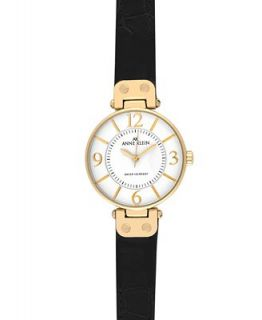 Anne Klein Watch, Womens Black Leather Strap 10 9168WTBK   Watches   Jewelry & Watches
