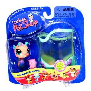 "Hasbro Year 2005 Littlest Pet Shop Portable Pets ""Squeaky Clean Pets"" Series Collectible Bobble Head Pet Figure Set #142   Pink Seahorse with ""Aquarium"" and ""Food"" (51839) Toys & Games"