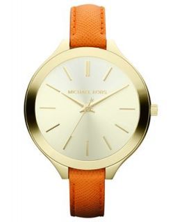 Michael Kors Womens Slim Runway Orange Leather Strap Watch 42mm MK2275   Watches   Jewelry & Watches