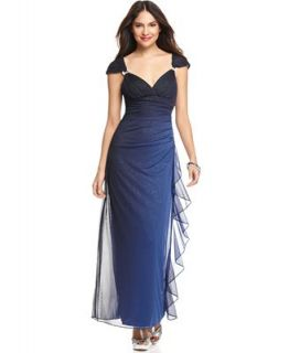 Betsy & Adam Dress, Cap Sleeve Empire Waist Ombre Sparkle Evening Gown   Dresses   Women