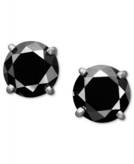 Diamond Earrings, 14k White Gold Black Diamond Stud Earrings   Earrings   Jewelry & Watches