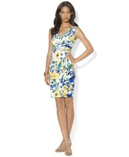 Lauren Ralph Lauren Dress, Sleeveless Floral Print Ruched   Dresses   Women