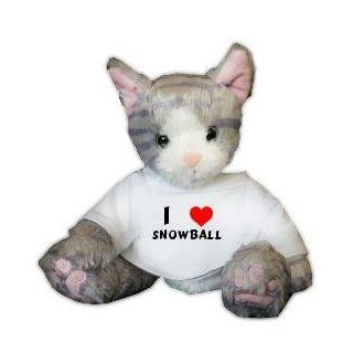 Plush Stuffed Cat (Kit Kat) toy with I Love Snowball T shirt (first name/surname/nickname) Toys & Games