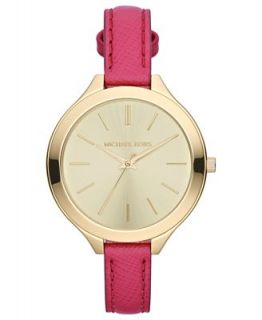 Michael Kors Womens Slim Runway Pink Leather Strap Watch 42mm MK2298   Watches   Jewelry & Watches