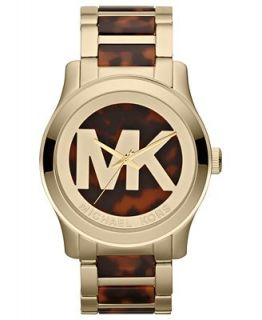 Michael Kors Womens Runway Tortoise Acetate and Gold Tone Stainless Steel Bracelet Watch 45mm MK5788   Watches   Jewelry & Watches