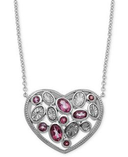 Town & Country Sterling Silver Necklace, Pink Topaz and Enamel Heart Pendant (1 7/8 ct. t.w.)   Necklaces   Jewelry & Watches