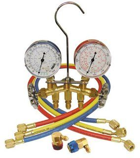 Mountain 8205 R 134a Brass Manifold Gauge Set with Couplers Automotive