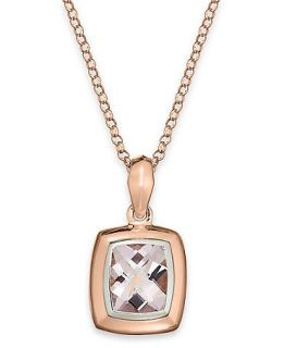 14k Rose Gold Necklace, Pink Amethyst Cushion Pendant (4 3/4 ct. t.w.)   Necklaces   Jewelry & Watches