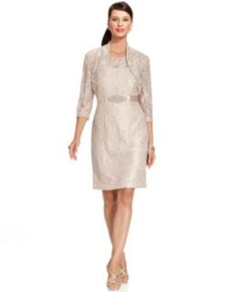 Alex Evenings Petite Dress, Cap Sleeve Illusion Lace Sequin Faux Wrap   Dresses   Women