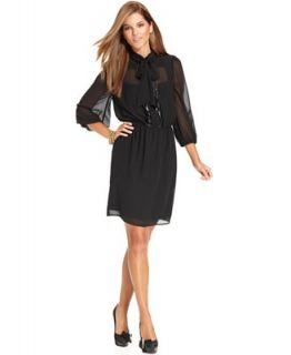 Jessica Simpson Dress, Three Quarter Sleeve Tie Neck Blouson   Dresses   Women