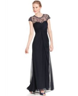 Betsy & Adam Petite Dress, Sleeveless Belted Lace Gown   Dresses   Women