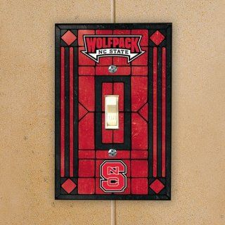 NCAA North Carolina State Wolfpack Red Art Glass Switch Plate Cover  Sports Fan Home Decor  Sports & Outdoors