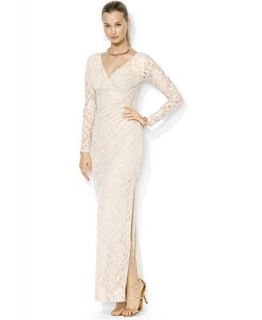 Lauren Ralph Lauren Dress, Long Sleeve Sequin Lace Split Gown   Dresses   Women