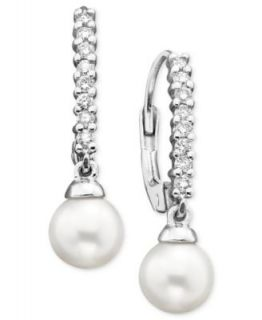 14k White Gold Cultured Freshwater Pearl Drop Earrings   Earrings   Jewelry & Watches
