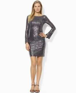 Lauren by Ralph Lauren Dress, Long Sleeve Sequin Boatneck Mini Shift   Dresses   Women