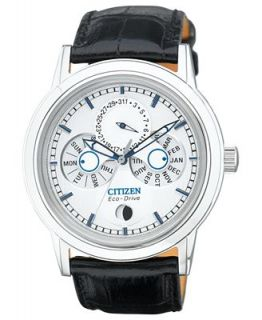 Citizen Mens Eco Drive Calibre 8651 Black Leather Strap Watch 41mm BU0030 00A   Watches   Jewelry & Watches