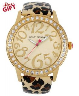 Betsey Johnson Watch, Womens Leopard Print Patent Leather Strap 48mm BJ00217 01   Watches   Jewelry & Watches