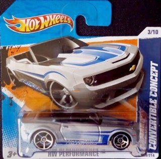 2010 Hot Wheels Camaro Convertible Concept (Silver & Blue Hotchkis) #109/214, HW Performance #3/10 (Short Card) Toys & Games