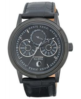 Citizen Mens Eco Drive Calibre 8651 Black Leather Strap Watch 41mm BU0035 06E   Watches   Jewelry & Watches