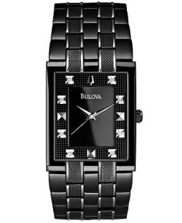 Bulova Mens Diamond Accent Black and Silver Tone Stainless Steel Bracelet Watch 30mm 98D111   Watches   Jewelry & Watches