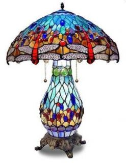 Beautiful Dragonfly Double Lit Table Lamp