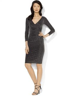 Lauren Ralph Lauren Petite Long Sleeve Metallic Ruched Dress   Dresses   Women