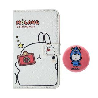 "Euclid+   White Molang Potato Rabbit Style PU Leather Case Cover for Samsung Galaxy Note 1 I I9220 with Hello Kitty X Monster University Inc. Sulley Style 2.3"" inch Pinback Button Badge Cell Phones & Accessories"
