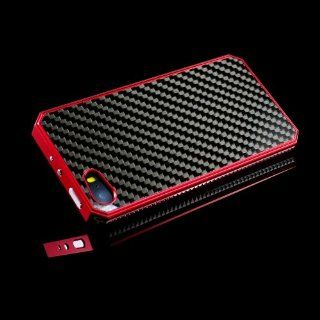 iClover� Top Seller Designed for iPhone 5S carbon fiber case Red Newest Metal Aluminum Carbon Fiber Protective Case Cover for Apple iPhone 5S carbon fibre aluminum case  Ship From US Cell Phones & Accessories