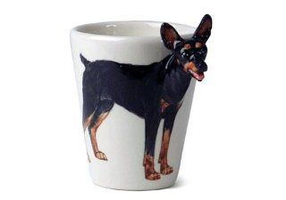 Miniature Pinscher MinPin Sculpted Ceramic Dog Coffee Mug