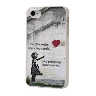 White Frame Banksy Balloon Girl Grafitti Art  The Simplest Things in Life  iphone 4 4S Case/Back cover Metal and Hard Plastic Case Cell Phones & Accessories