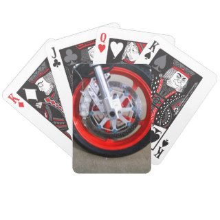 Motorcycles Motorcycle Wheel Red Rims Photo Card Decks