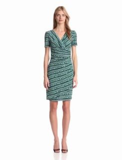 Evan Picone Women's Elbow Sleeve Print Dress, Cool Mint Combo, 8