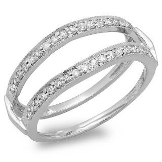 0.33 Carat (ctw) 14K White Gold Round Diamond Ladies Wedding Band Millgrain Guard Double Ring 1/3 CT Jewelry