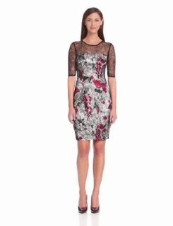 Jax Women's Lace Overlay Dress, Black/Red, 12