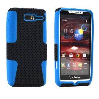 MINITURTLE, 2 in 1 Dual Layer Mesh Hybrid Hard Phone Case Cover and Clear Screen Protector Film for Android Smarphone Motorola Droid RAZR M MINI XT907 /Verizon (Black / Blue) Cell Phones & Accessories
