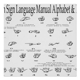 American Sign Language ASL Alphabet &Numbers Chart Print