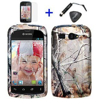 4 items Combo ITUFFY Mini Stylus Pen + LCD Screen Protector Film + Case Opener + Pine Tree Leaves Camouflage Outdoor Wildlife Design Rubberized Snap on Hard Shell Cover Faceplate Skin Phone Case for BOOST MOBILE KYOCERA HYDRO C5170 (will fit the HYDRO C51