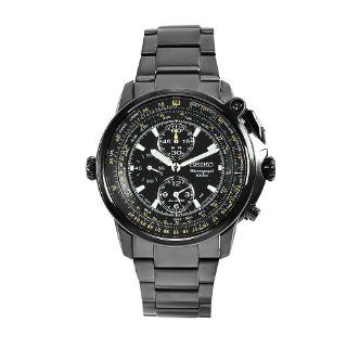 Seiko Men's SNAB69 Flight Master Stainless Steel Black Chronograph Dial Watch at  Men's Watch store.