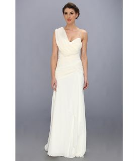 Nicole Miller Georgette Draped Bridal Gown Womens Dress (White)