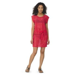 Womens Crochet Cover up Swim Dress  Coral S