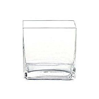 "6pc Clear Square Glass Vase Vases   Cube   5 Inch   6"" x 4"" x 6""   Decorative Vases"