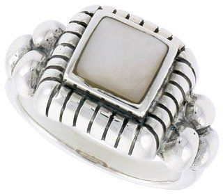 "Sterling Silver Oxidized Ring, w/ 8mm Square shaped Mother of Pearl, 1/2"" (13mm) wide, size 8 Jewelry"