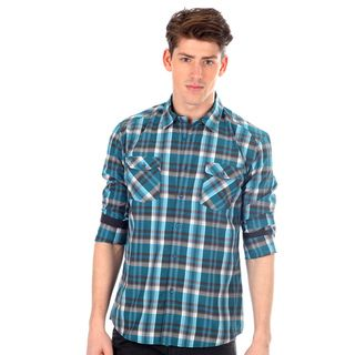 191 Unlimited Men's Slim Fit Blue Plaid Woven Long Sleeve Shirt 191 Unlimited Casual Shirts