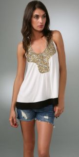 Tbags Los Angeles Gold Sequin Tank