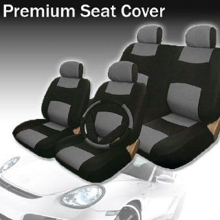New Yupbizauto Brand Universal Synthetic Leather Car Seat Covers Set with 40/60, 50/50 Split Feature Rear Covers, Steering Wheel Cover and Seat Belt Covers  Black and Gray Automotive