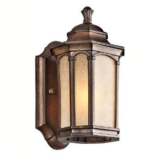 Kichler Lighting Kichler 49029BST Duquesne 1 Light Outdoor Wall Lantern, Brown Stone with Umber Etched Seedy Glass   Outdoor Post Light Accessories