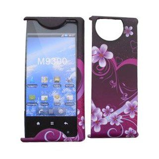 For Sprint Kyocera Echo M9300 Accessory   Purple Heart Designer Hard Case Cover Cell Phones & Accessories