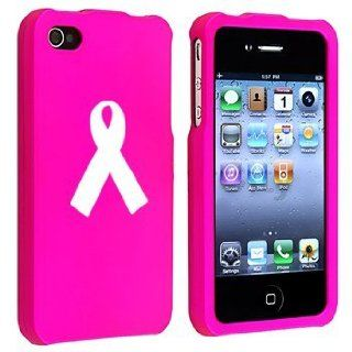 Apple iPhone 4 4S Hot Pink Rubber Hard Case Snap on 2 piece Awareness Ribbon Cell Phones & Accessories